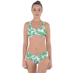 Leaves Green Pattern Nature Plant Criss Cross Bikini Set by AnjaniArt