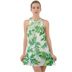 Leaves Green Pattern Nature Plant Halter Tie Back Chiffon Dress by AnjaniArt