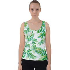 Leaves Green Pattern Nature Plant Velvet Tank Top by AnjaniArt