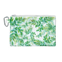 Leaves Green Pattern Nature Plant Canvas Cosmetic Bag (large)