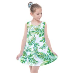 Leaves Green Pattern Nature Plant Kids  Summer Dress by AnjaniArt