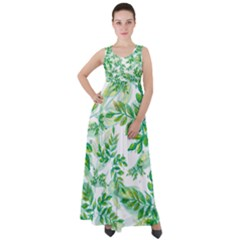 Leaves Green Pattern Nature Plant Empire Waist Velour Maxi Dress by AnjaniArt
