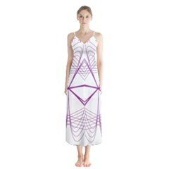 Spirograph Circle Geometric Button Up Chiffon Maxi Dress