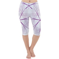 Spirograph Circle Geometric Lightweight Velour Cropped Yoga Leggings by AnjaniArt