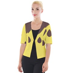 Chocolate Yellow Cake Banana Cropped Button Cardigan
