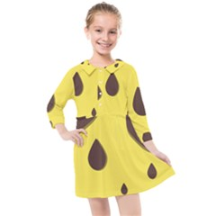Chocolate Yellow Cake Banana Kids  Quarter Sleeve Shirt Dress
