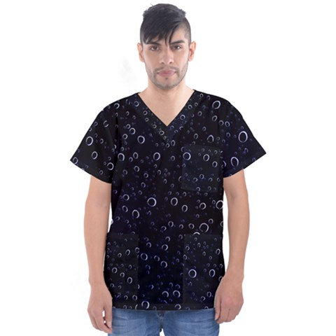 Blued Dark Bubbles Print Men s V-neck Scrub Top by dflcprintsclothing