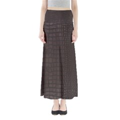 Gator Brown Leather Print Full Length Maxi Skirt by LoolyElzayat