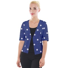 Navy Polka Dot Cropped Button Cardigan