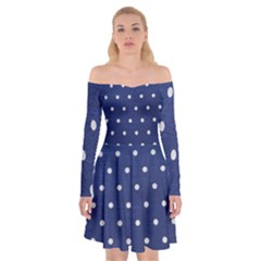 Navy Polka Dot Off Shoulder Skater Dress