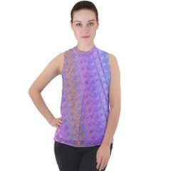Diagonal Line Design Art Mock Neck Chiffon Sleeveless Top