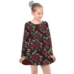 Roses Red Kids  Long Sleeve Dress