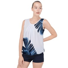 Blue Banana Leaves Bubble Hem Chiffon Tank Top by goljakoff