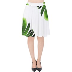 Green Banana Leaves Velvet High Waist Skirt by goljakoff