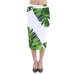 Green Banana Leaves Velvet Midi Pencil Skirt by goljakoff