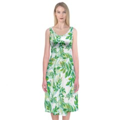 Tiny Tree Branches Midi Sleeveless Dress