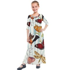 My Butterfly Collection Kids  Quarter Sleeve Maxi Dress by WensdaiAmbrose