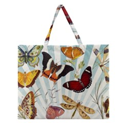 My Butterfly Collection Zipper Large Tote Bag by WensdaiAmbrose