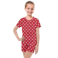 Red Hot Polka Dots Kids  Mesh Tee And Shorts Set