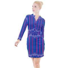 Digital Art Artwork Abstract 3d Button Long Sleeve Dress by Jojostore