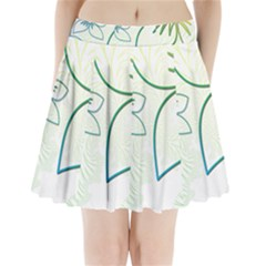 Flowers Background Leaf Leaves Blue Green Yellow Pleated Mini Skirt by Jojostore