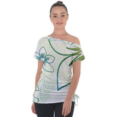 Flowers Background Leaf Leaves Blue Green Yellow Tie Up Tee