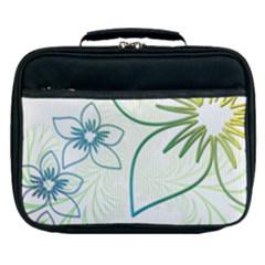 Flowers Background Leaf Leaves Blue Green Yellow Lunch Bag