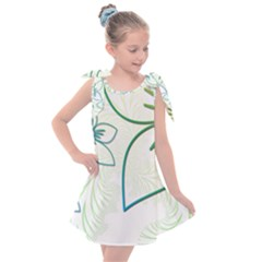 Flowers Background Leaf Leaves Blue Green Yellow Kids  Tie Up Tunic Dress by Jojostore