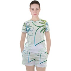 Flowers Background Leaf Leaves Blue Green Yellow Women s Tee And Shorts Set by Jojostore