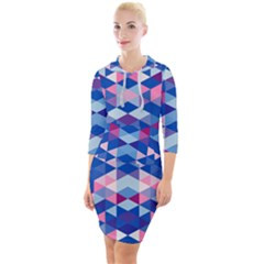 Digital Art Geometry Triangle Quarter Sleeve Hood Bodycon Dress