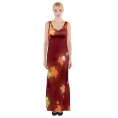 Leaf Leaves Bokeh Background Maxi Thigh Split Dress by Mariart