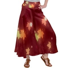 Leaf Leaves Bokeh Background Satin Palazzo Pants by Mariart