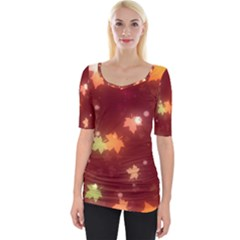 Leaf Leaves Bokeh Background Wide Neckline Tee by Mariart