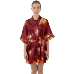 Leaf Leaves Bokeh Background Quarter Sleeve Kimono Robe by Mariart