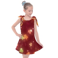 Leaf Leaves Bokeh Background Kids  Tie Up Tunic Dress by Mariart