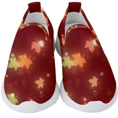 Leaf Leaves Bokeh Background Kids  Slip On Sneakers by Mariart