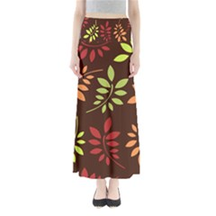 Leaves Foliage Pattern Design Full Length Maxi Skirt by Mariart