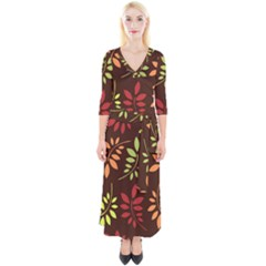 Leaves Foliage Pattern Design Quarter Sleeve Wrap Maxi Dress by Mariart