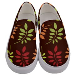 Leaves Foliage Pattern Design Men s Canvas Slip Ons