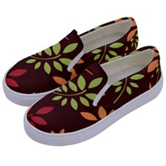 Leaves Foliage Pattern Design Kids  Canvas Slip Ons by Mariart