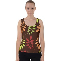 Leaves Foliage Pattern Design Velvet Tank Top by Mariart