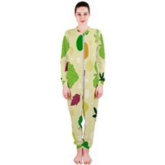 Leaves Background Leaf Onepiece Jumpsuit (ladies)