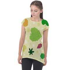Leaves Background Leaf Cap Sleeve High Low Top by Mariart