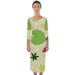 Leaves Background Leaf Quarter Sleeve Midi Bodycon Dress by Mariart