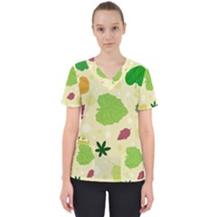 Leaves Background Leaf Women s V Neck Scrub Top by Mariart