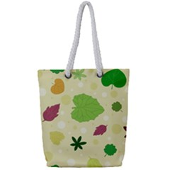 Leaves Background Leaf Full Print Rope Handle Tote (small)