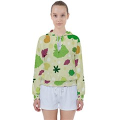 Leaves Background Leaf Women s Tie Up Sweat