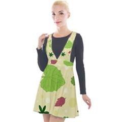 Leaves Background Leaf Plunge Pinafore Velour Dress