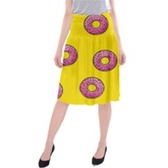 Background Donuts Sweet Food Midi Beach Skirt by Alisyart