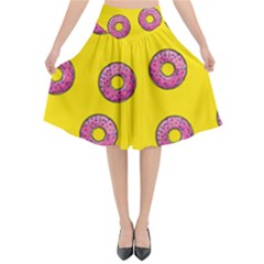 Background Donuts Sweet Food Flared Midi Skirt by Alisyart